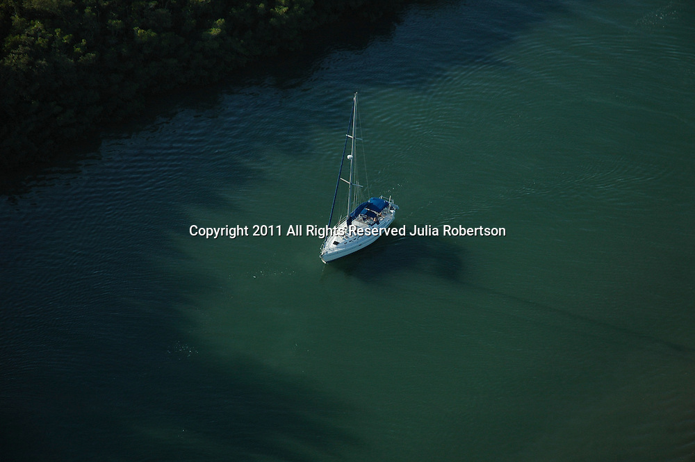 Aerial of Sail Boat outside of Palm Island, Boca Grand Florida