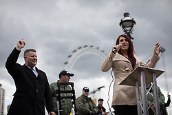 © Licensed to London News Pictures . 01/04/2017 . London , UK . PAUL GOLDING and JAYDA FRANSEN at the Britain First demonstration on Victoria Embankment . The EDL and Britain First both hold demonstrations in London , opposed by anti-fascist groups , including Unite Against Fascism . Photo credit : Joel Goodman/LNP