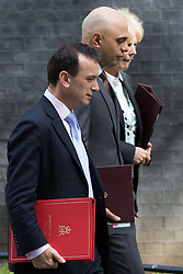 Downing Street, London, May 3rd 2016. Welsh Secretary Alun Cairns, State for Business Secretary Sajid Javid and Small Business Minister Anna Soubry leave 10 Downing Street following the weekly cabinet meeting. ©Paul Davey<br /> FOR LICENCING CONTACT: Paul Davey +44 (0) 7966 016 296 paul@pauldaveycreative.co.uk