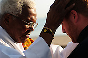Deacon Leonard Richardson (L) blesses Pastor Matt O'Donnell following a sunrise mass at Rainbow Beach on the Chicago's south side. August 25, 2012 l Brian J. Morowczynski~ViaPhotos...For use in a single edition of Catholic New World Publications, Archdiocese of Chicago. Further use and/or distribution may be negotiated separately. Contact ViaPhotos at 708-602-0449 or email brian@viaphotos.com.