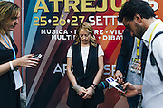 Giorgia Meloni rilascia dichiarazioni al tg1 Rai, durante la manifestazione Atreju, organizzata dai giovani del partito Fratelli d'Italia. Roma 25 Settembre 2015. Christian Mantuano / OneShot<br /> <br /> Giorgia Meloni interview by reporters,  during  'Atreju' event, organized by the youth of the Fratelli d'Italia Party. Rome 25 September 2015. Christian Mantuano / OneShot