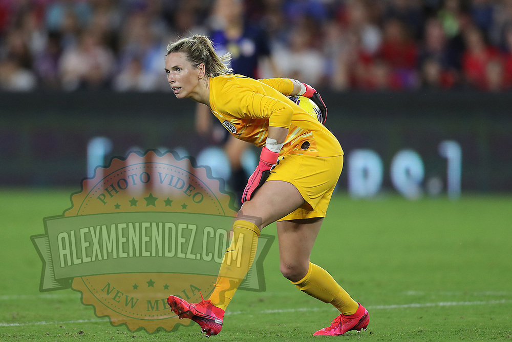 England goalkeeper Carly Telford (1) is seen during the first match of the 2020 She Believes Cup soccer tournament at Exploria Stadium on 5 March 2020 in Orlando, Florida USA.