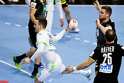 Rok Ovnicek of Slovenia during handball match between National Teams of Germany and Slovenia at Day 2 of IHF Men's Tokyo Olympic  Qualification tournament, on March 13, 2021 in Max-Schmeling-Halle, Berlin, Germany. Photo by Vid Ponikvar / Sportida