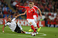 Aaron Ramsey of Wales goes past Austria's Sebastian Prodl. Wales v Austria , FIFA World Cup qualifier , European group D match at the Cardiff city Stadium in Cardiff , South Wales on Saturday 2nd September 2017. pic by Andrew Orchard, Andrew Orchard sports photography