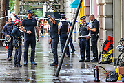 Protest Removal Unit (PRU) arrived at the scene outside Elbit Systems HQ office at 77 Kingsway, central London following a protest of Palestine Action activists on Friday afternoon, Aug 6, 2021. (VX Photo/ Vudi Xhymshiti)
