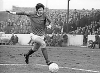 Billy Millen, footballer, Linfield FC, Belfast, in action at the Oval, East Belfast, N Ireland. The Oval is the Glentoran FC home ground. March, 1970, 197003000114<br /> <br /> Copyright Image from Victor Patterson, 54 Dorchester Park, Belfast, UK, BT9 6RJ<br /> <br /> t1: +44 28 9066 1296 (from Rep of Ireland 048 9066 1296)<br /> t2: +44 28 9002 2446 (from Rep of Ireland 048 9002 2446)<br /> m: +44 7802 353836<br /> <br /> e1: victorpatterson@me.com<br /> e2: victorpatterson@gmail.com<br /> <br /> The use of my copyright images is subject to my Terms & Conditions.<br /> <br /> It is IMPORTANT that you familiarise yourself with them. They are available on my website at www.victorpatterson.com.<br /> <br /> None of my copyright images may be used on a website unless they are visibly watermarked, i.e. © Victor Patterson within the body of the visible image. Metadata denoting my copyright must NOT be deleted. <br /> <br /> Web use (maximum size - 400 kb) is extra at currently recommended NUJ rates.