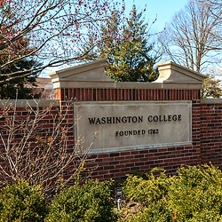 Chestertown, MD, USA - March 30, 2013:A sign at Washington College in Chestertown Maryland