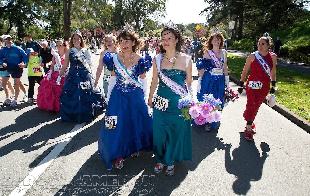 A group of beauty queens from Auburn, Calif. make their way through Golden Gate Park during the 100th running of the Bay to Breakers 12K in San Francisco, Sunday, May 15, 2011. (Photo by D. Ross Cameron)