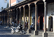 Colonnade on the western side of Parque Central. Antigua Guatemala, Republic of Guatemala. 03Mar14