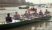 """Putney. London.  2004 University Boat Race,  Championships Course, Putney to Mortlake. <br /> Re enactment row Boat Race. , Cambridge and Oxford . OUBC Boating from the  """"Hard""""   to complete [Mandatory Credit Peter SPURRIER]"""