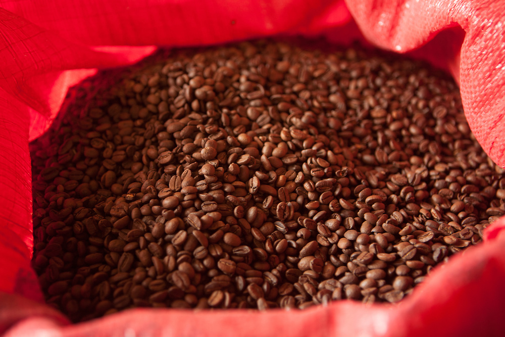 A sack of roasted coffee at the FECCEG warehouse in Quetzaltenango.