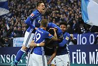 1:0 Jubel v.l. Bastian Oczipka, Guido Burgstaller, Daniel Caligiuri, Torschuetze Franco di Santo, Weston McKennie (Schalke)<br /> Gelsenkirchen, 19.11.2017, Fussball Bundesliga, FC Schalke 04 - Hamburger SV<br /> <br /> Norway only