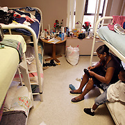 LOS ANGELES, CA - September 9, 2005:  Allison Caesh and her son Randy, 4, spend time in their room at the Dream Center, a shelter for Hurricane Katrina evacuees in Los Angeles, California on September 9, 2005. (Photo by Todd Bigelow/Aurora)..