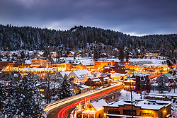 """""""Downtown Truckee 21"""" - Photograph of historic Downtown Truckee, California, shot at dusk."""