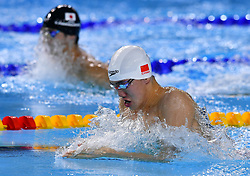 BUENOS AIRES, Oct. 9, 2018  Sun Jiajun of China competes during the men's 100m breaststroke final at the 2018 Summer Youth Olympic Games in Buenos Aires, Argentina on Oct. 8, 2018. Sun Jiajun won the gold. (Credit Image: © Zhu Zheng/Xinhua via ZUMA Wire)