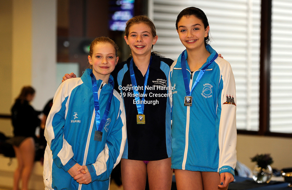 Scottish National Diving Championships & Thistle Trophy 2015<br /> Royal Commonwealth Pool, Edinburgh<br /> <br /> Girls 12-13<br /> <br /> l-r Rose Daly EDC, Clara Kerr ASV and Ellen Beattie of EDC<br /> <br />  Neil Hanna Photography<br /> www.neilhannaphotography.co.uk<br /> 07702 246823