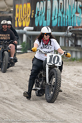 Karen Howell on her Harley-Davidson Flathead racer at heads onto the beach for day two of racing at  TROG (The Race Of Gentlemen). Wildwood, NJ. USA. Sunday June 10, 2018. Photography ©2018 Michael Lichter.