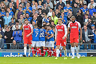 Portsmouth Players Celebrate after Portsmouth Forward, Brett Pitman (8) scores to make it 1-0 during the EFL Sky Bet League 1 match between Portsmouth and Fleetwood Town at Fratton Park, Portsmouth, England on 16 September 2017. Photo by Adam Rivers.