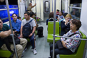 01 NOVEMBER 2004 - MEXICO CITY, MEXICO: Riders on a train in the Mexico City Metro (subway) system. Because of high levels of air pollution, expensive gasoline, lack of parking and the comparatively high cost of cars most Mexicans rely on mass transit to get around the city of nearly 20 million people. PHOTO BY JACK KURTZ