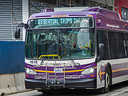 """26 MARCH 2020 - DES MOINES, IOWA: A Des Moines bus displaying a public service message, """"Essential Trips Only"""" travels through downtown Des Moines. On Thursday morning, 24 March, Iowa reported 175 confirmed cases of the Coronavirus (SARS-CoV-2) and COVID-19. Restaurants, bars, movie theaters, places that draw crowds are closed until 07 April. The Governor has not ordered """"shelter in place""""  but several Mayors, including the Mayor of Des Moines, have asked residents to stay in their homes for all but the essential needs. People are being encouraged to practice """"social distancing"""" and many businesses are requiring or encouraging employees to telecommute.          PHOTO BY JACK KURTZ"""