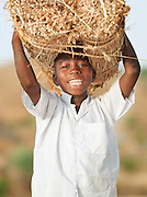 A local boy carries building materials to the nearby village of Rhumsiki in the north of Cameroon