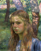 Young Girl in the Oak Grove' (Daughter of Jean Schlumberger and Suzanne Weiler). Oil on canvas. Theo van Ruysselberghe (1862-1926) Belgian Neo-impressionist painter. Child Youth Sunlight Dappled Shade