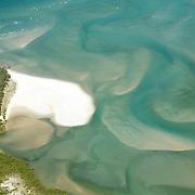 Aerial view of an inlet near the coast of Bundaberg, Australia.