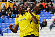 Burton Albion striker Lucas Akins (10) scores a goal 2-0 and celebrates during the EFL Sky Bet Championship match between Birmingham City and Burton Albion at St Andrews, Birmingham, England on 17 April 2017. Photo by Richard Holmes.