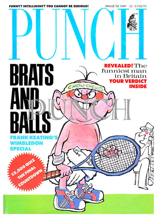 Punch front cover (A aggressive looking tennis-playing baby)