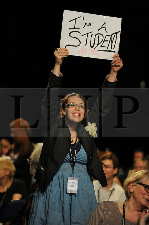 © Licensed to London News Pictures. 28/09/2011. LONDON, UK. A delegate tries to get the attention of the chairman in order to take part in the debate. The Labour Party Conference in Liverpool today (28/09/11). Photo credit:  Stephen Simpson/LNP