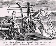Reconstruction of a Roman war engine for firing a salvo of arrows, sometimes referred to as a Scorpion. From 'Poliorceticon sive de machinis tormentis telis' by Justus Lipsius (Joost Lips) (Antwerp, 1605). Engraving.