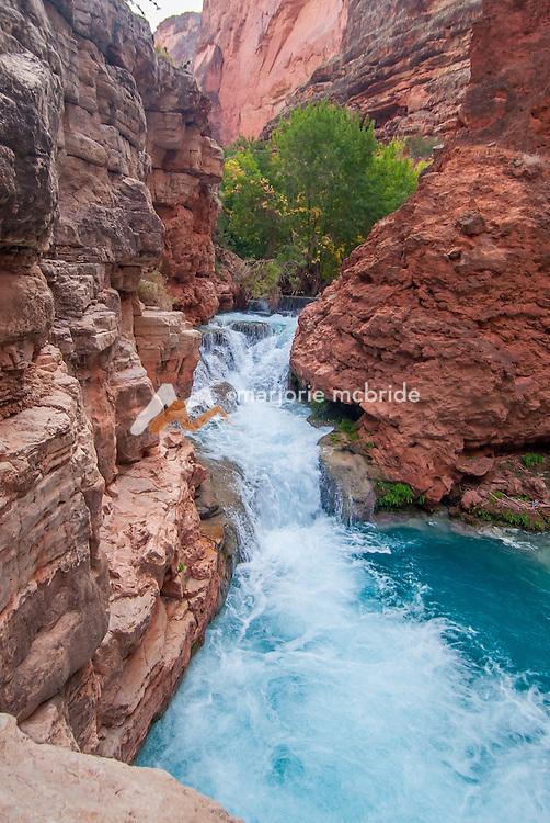 Beautiful blue water Havasu Creek Canyon on the Colorado River  in the Grand Canyon National Park, Arizona.