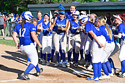 Freeburg baserunner Nicole Edmiaston is welcomed at home plate by teammates after her home run. Freeburg defeated Nashville in the Class 2A sectional softball title game at Nashville High School in Nashville, IL on Thursday June 10, 2021. Tim Vizer/Special to STLhighschoolsports.com.