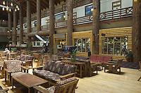 Interior of historic Glacier Park Lodge, East Glacier Montana