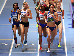 Great Britain's Katarina Johnson-Thompson (right) on her way to winning the Women's Pentathlon 800m and gold in the overall Women's Pentathlon event during day two of the 2018 IAAF Indoor World Championships at The Arena Birmingham.