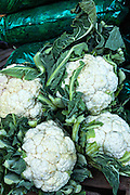 Fresh cauliflower at Benito Juarez market in Oaxaca, Mexico.