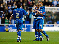 Photo: Daniel Hambury.<br />Reading v Luton Town. Coca Cola Championship.<br />03/12/2005.<br />Reading's Steve Sidwell (R) celebrates scoring the first goal with team mates Ivar Ingimarsson and Boby Convey.