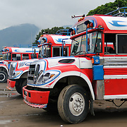 Red, white, and blue painted chicken buses behind the Mercado Municipal (town market) in Antigua, Guatemala. From this extensive central bus interchange the routes radiate out across Guatemala. Often brightly painted, the chicken buses are retrofitted American school buses and provide a cheap mode of transport throughout the country.