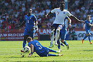 Arvin Appiah of England skips past Nicol Armini of Italy (5)during the UEFA European Under 17 Championship 2018 match between England and Italy at the Banks's Stadium, Walsall, England on 7 May 2018. Picture by Mick Haynes.