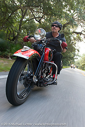 Jeff Decker riding his 1929 Harley-Davidson JD during Stage 1 of the Motorcycle Cannonball Cross-Country Endurance Run, which on this day ran from Daytona Beach to Lake City, FL., USA. Friday, September 5, 2014.  Photography ©2014 Michael Lichter.