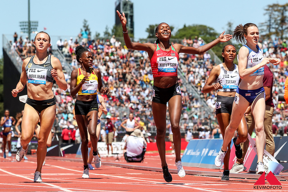 Faith Kipyegon, Kenya, wins womens 1500 meters after returning from maternity hiatus<br /> 2019 The Prefontaine Classic Track & Field<br /> IAAF Diamond League