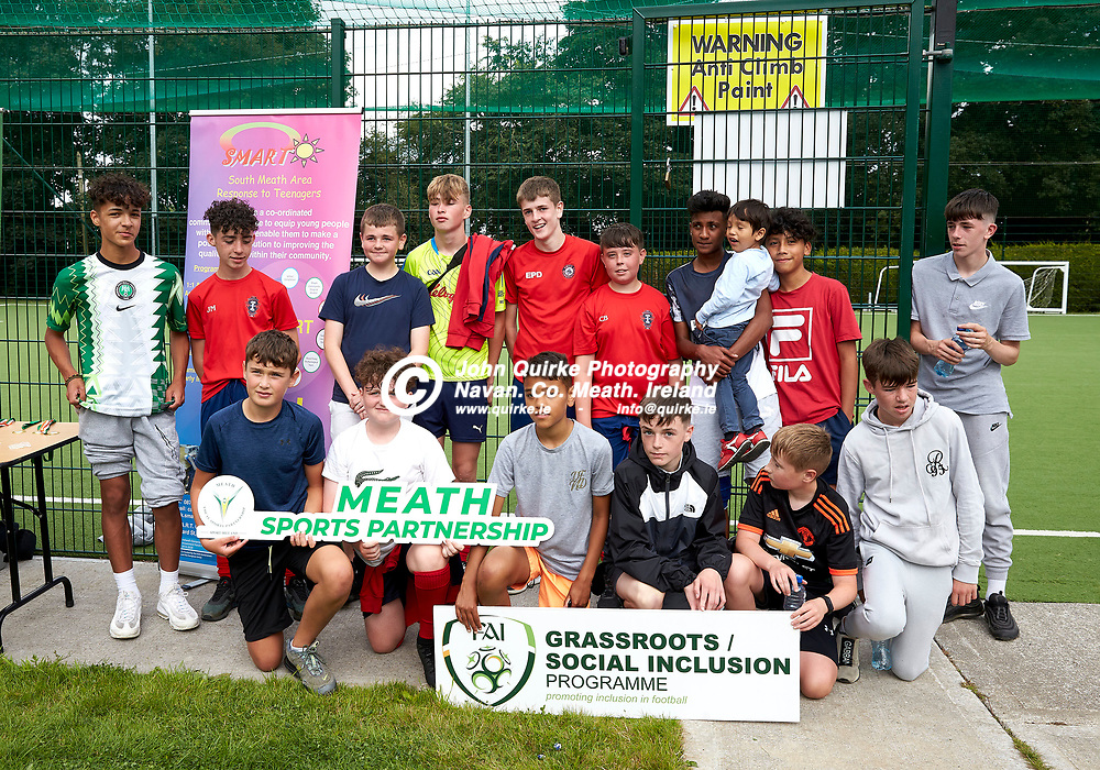04-08-21, Garda youth diversion Soccer Initiative project at Our Lady of Mercy school, Kells.<br /> Members of the winning team who took part in the Soccer Initiative project in association with Meath Sports Partnership<br /> Photo: David Mullen / www.quirke.ie ©John Quirke Photography, Proudstown Road Navan. Co. Meath. 046-9079044 / 087-2579454.<br /> ISO: 320; Shutter: 1/250; Aperture: 6.3;