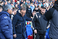 Sheffield Wednesday head coach Carlos Carvalhal and Cardiff City first team manager, Russell Slade during the Sky Bet Championship match between Sheffield Wednesday and Cardiff City at Hillsborough, Sheffield, England on 30 April 2016. Photo by Phil Duncan.
