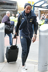 Ashley Young is spotted on his way to catch a flight as the team fly to Turin on Tuesday afternoon to play Juventus in The Champions League on Wednesday night.