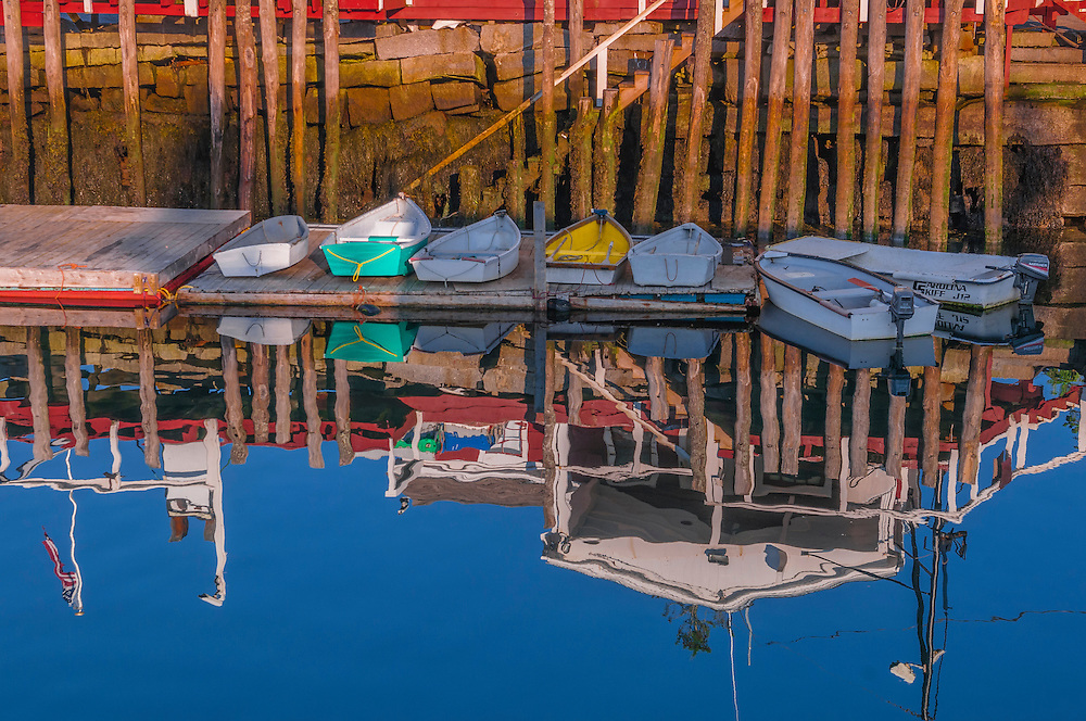 Dinghies on dock and reflections. Sprucehead Island, South Thomaston, ME