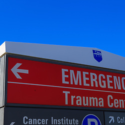 Hershey, PA - August 22, 2016: Penn State Hershey Medical Center Emergency Trauma Center sign at the entrance of the facility.