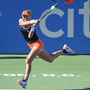 EKATERINA MAKAROVA hits a backhand during her semifinal match at the Citi Open at the Rock Creek Park Tennis Center in Washington, D.C.