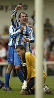 Photo Aidan Ellis, Digitalsport<br /> NORWAY ONLY<br /> <br /> Lincoln City v Huddersfield Town.<br /> Third Divison Play Off Semi Final 1st leg.<br /> 15/05/2004.<br /> Huddersfield's David Mirfin celebrates his goal and teams second