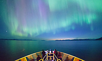 Aurora Borealis over the Frederick Sound from the National Geographic Sea Bird in Southeast, Alaska.
