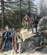 Arrest of the Corsican bandit Antoine Bella Corscia by French Gendarmes.  From 'Le Petit Journal', Paris, 16 July 1892.